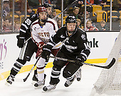 Daniel New (PC - 55), Johnny Gaudreau (BC - 13), Ross Mauermann (PC - 14) - The Boston College Eagles defeated the Providence College Friars 4-2 in their Hockey East semi-final on Friday, March 16, 2012, at TD Garden in Boston, Massachusetts.