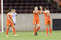 Houston, TX - Saturday July 08, 2017: Janine Beckie celebrates her goal with Carli Lloyd during a regular season National Women's Soccer League (NWSL) match between the Houston Dash and the Portland Thorns FC at BBVA Compass Stadium.