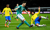 27th March 2018, Olympiastadion, Berlin, Germany; International Football Friendly, Germany versus Brazil; Niklas Suele (Germany) blocked by Marcelo (Brasil)