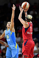 Washington, DC - September 8, 2019: Washington Mystics forward Elena Delle Donne (11) shoots a three pointer over Chicago Sky forward Gabby Williams (15) during game between the Chicago Sky and Washington Mystics at the Entertainment and Sports Arena in Washington, DC. The Mystics locked up the #1 seed in the Playoffs by defeating the Sky 100-86. (Photo by Phil Peters/Media Images International)