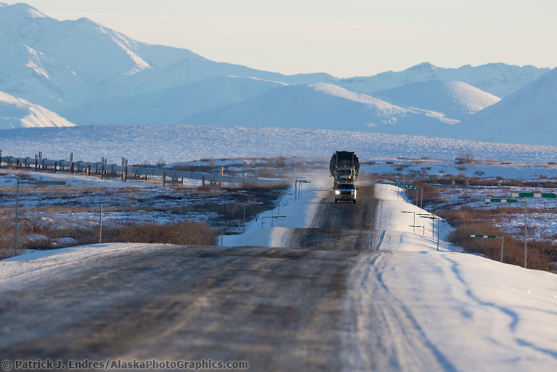Philip Smith mountains of the Brooks Range in the distance, James Dalton Highway, Arctic, Alaska.