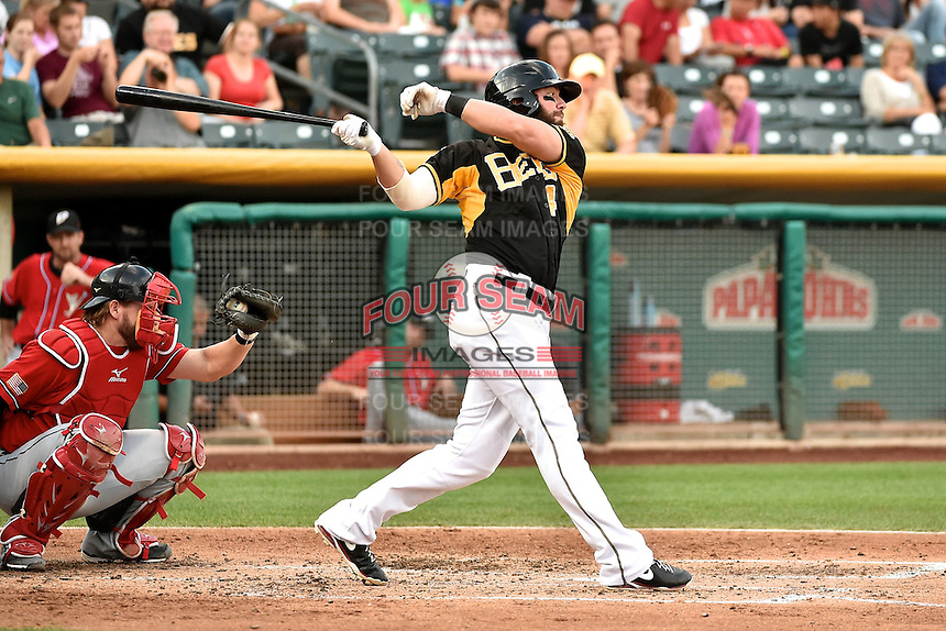 Ian Stewart (4) of the Salt Lake Bees at bat against the El Paso Chihuahuas in Pacific Coast League action at Smith's Ballpark on August 7, 2014 in Salt Lake City, Utah.  (Stephen Smith/Four Seam Images)