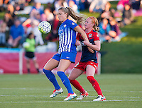 Boyds, MD - April 16, 2016: Washington Spirit defender Victoria Huster (23) and Western New York Flash midfielder Samantha Mewis (5). The Washington Spirit defeated the Boston Breakers 1-0 during their National Women's Soccer League (NWSL) match at the Maryland SoccerPlex.