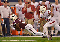 STAFF PHOTO BEN GOFF  @NWABenGoff -- 09/27/14 Texas A&M wide receiver Speedy Noil catches a pass during the second quarter of the game against Texas A&M in the Southwest Classic in AT&T Stadium in Arlington, Texas on Saturday September 27, 2014.