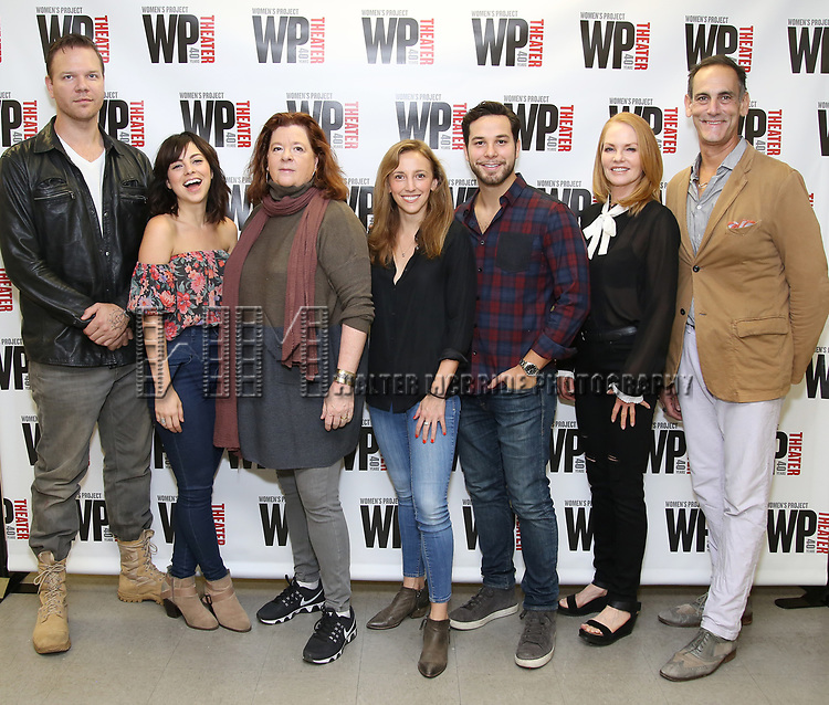 Jim Parrack, Krysta Rodriguez, Theresa Rebeck, Adrienne Campbell, Skylar Astin, Marg Helgenberger and Damian Young attend the WP Theater production of 'What We're Up Against' Photo Calll at WP Theater Office on October 5, 2017 in New York City.