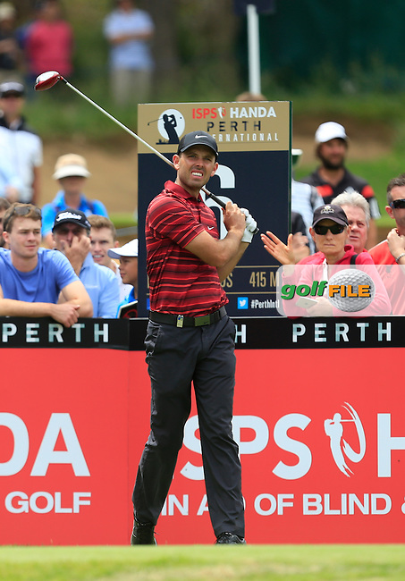 Charl Schwartzel (RSA) on the 6th tee during Round 3 of the ISPS HANDA Perth International at the Lake Karrinyup Country Club on Saturday 25th October 2014.<br /> Picture:  Thos Caffrey / www.golffile.ie