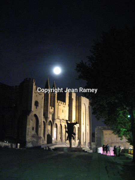 Moon over Pope's Palace, Avignon