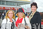 Maura Hanrahan from Ballybunion with local ladies Geraldine Kelly and Norma Leane at the races in Listowel last Friday afternoon.