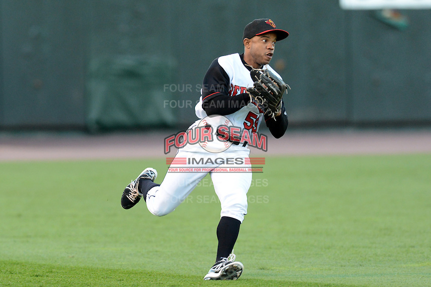 Rochester Red Wings outfielder Antoan Richardson (59) throws the ball in during an International League playoff game against the Pawtucket Red Sox on September 5, 2013 at Frontier Field in Rochester, New York.  Pawtucket defeated Rochester 7-2.  (Mike Janes/Four Seam Images)