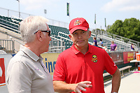 Cary, North Carolina  - Saturday April 29, 2017: Joe Sahlen and Tom Sermanni during a pregame ceremony honoring the Western New York Flash for winning the 2016 NWSL championship prior to regular season National Women's Soccer League (NWSL) match between the North Carolina Courage and the Orlando Pride at Sahlen's Stadium at WakeMed Soccer Park.