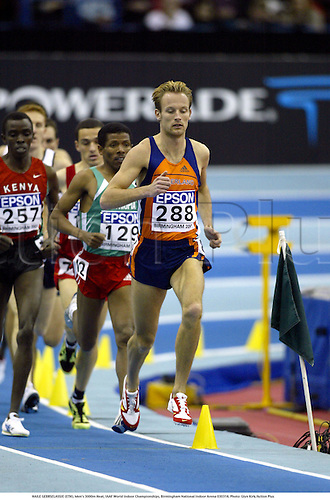 HAILE GEBRSELASSIE (ETH), Men's 3000m Heat, IAAF World Indoor Championships, Birmingham National Indoor Arena 030314. Photo: Glyn Kirk/Action Plus...2003.athletics track and field athlete athletes man men distance runner runners
