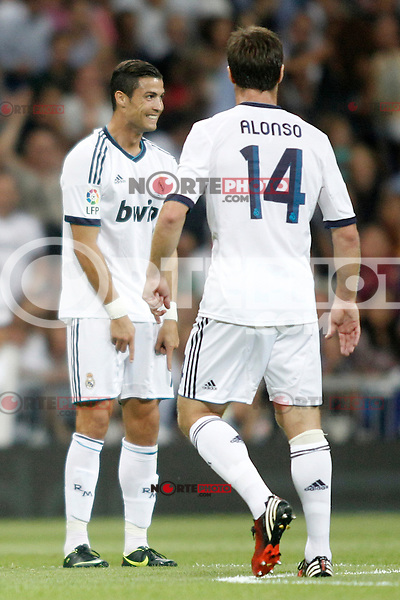 Real Madrid's Ronaldo and Xavi Alonso  during Super Copa of Spain on Agost 29th 2012...Photo:  (ALTERPHOTOS/Ricky) Super Cup match. August 29, 2012. <br />