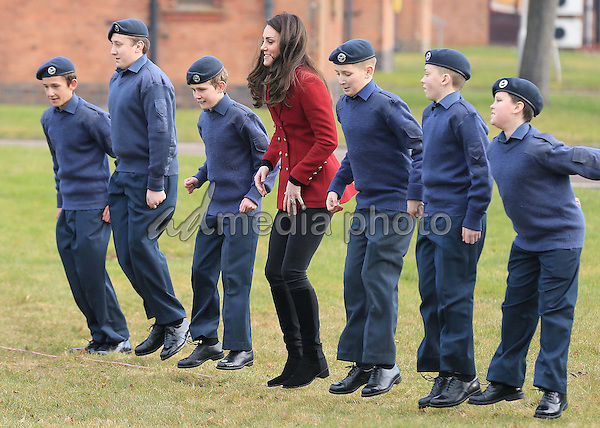 14 February 2017 - Princess Kate Duchess of Cambridge plays a game with RAF Air Cadets during a visit to the RAF Air Cadets at RAF Wittering in Stamford, Lincolnshire.  The Duchess of Cambridge is Royal Patron and Honorary Air Commandant of the Air Cadet Organisation. Photo Credit: ALPR/AdMedia