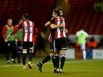 Nathan Thomas of Sheffield Utd  celebrates with scorer Ched Evans of Sheffield Utd during the Carabao Cup First Round match at Bramall Lane Stadium, Sheffield. Picture date: August 9th 2017. Pic credit should read: Simon Bellis/Sportimage