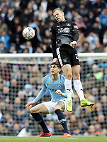 Burnley's Matej Vydra beats Manchester City's John Stones to an aerial ball<br /> <br /> Photographer Rich Linley/CameraSport<br /> <br /> Emirates FA Cup Fourth Round - Manchester City v Burnley - Saturday 26th January 2019 - The Etihad - Manchester<br />  <br /> World Copyright © 2019 CameraSport. All rights reserved. 43 Linden Ave. Countesthorpe. Leicester. England. LE8 5PG - Tel: +44 (0) 116 277 4147 - admin@camerasport.com - www.camerasport.com