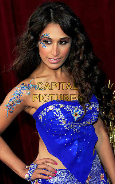 PREEYA KALIDAS.British Soap Awards 2010 at the London ITV Studios, South Bank, London, England..May 8th 2010.arrivals half length Indian dress blue strapless top hand on hip tattoos jewels body art paint face make-up embroidered floral print patterned pattern.CAP/CJ.©Chris Joseph/Capital Pictures.