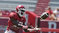 NWA Democrat-Gazette/MICHAEL WOODS &bull; @NWAMICHAELW<br /> University of Arkansas receiver JoJo Robinson runs drills during practice Saturday, August 15, 2015 at Razorback Stadium in Fayetteville.