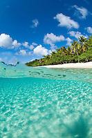 Split level view of<br /> Honeymoon Beach.<br /> Virgin Islands National Park<br /> St. John. US Virgin Islands