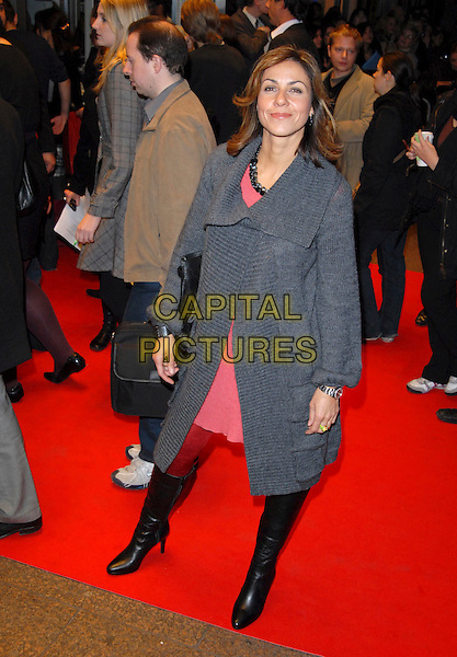 "JULIA BRADBURY.The Times BFI 51st London Film Festival Screening of ""Interview"", Odeon West End,.London, England, October 18th 2007..full length grey cardigan jacket pink dress boots.CAP/CAN.©Can Nguyen/Capital Pictures"