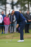 Lucas Bjerregaard (DEN) on the 11th green during Round 1of the Sky Sports British Masters at Walton Heath Golf Club in Tadworth, Surrey, England on Thursday 11th Oct 2018.<br /> Picture:  Thos Caffrey | Golffile<br /> <br /> All photo usage must carry mandatory copyright credit (© Golffile | Thos Caffrey)