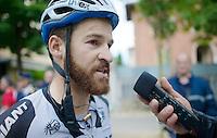 Simon Geschke (DEU/Giant-Shimano) interviewed post-race<br /> <br /> 2014 Giro d'Italia <br /> stage 17: Sarnonico - Vittori Veneto (208km)