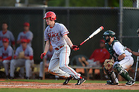 Ball State Cardinals third baseman Colin Brockhouse (9) at bat in front of catcher Matt MacDowell during a game against the Dartmouth Big Green on March 7, 2015 at North Charlotte Regional Park in Port Charlotte, Florida.  Ball State defeated Dartmouth 7-4.  (Mike Janes/Four Seam Images)