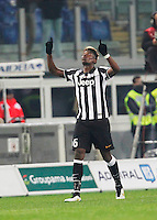 Paul Pogba  celebrates after scoring during the Italian Serie A soccer match between   SS Lazio and FC Juventus   at Olimpico  stadium in Rome , November 22, 2014