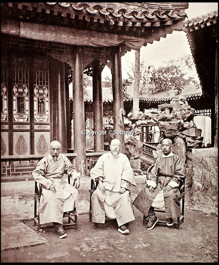 BNPS.co.uk (01202 558833)<br /> Pic: Sothebys/BNPS<br /> <br /> Three high ranking Mandarins from the Peking court of Imperial China (l-r) Shen-kwe-fen Minister of War, Tung-sean minister of Finance and Maou-cheng-he Minister of Works.<br /> <br /> Rare early photographs revealing what life in China looked like for the first time to the 19th century public have emerged 140 years after they were taken. <br /> <br /> The stunning collection - comprising 200 black and white photographs of Far East landscapes and wide-ranging personal portraits of everybody from rural peasants to senior government officials - was the first volume of photos from the region to ever be included in a travel book. <br /> <br /> Produced at a time when camera technology was still in its infancy, they were taken by celebrated Scottish photographer John Thomson between 1873 and 1874 during a 4,000-mile expedition across the country. <br /> <br /> And now one of the last remaining copies of the album still known to exist is set to go under the hammer at Sotheby's in London on November 7 with an estimate of £35,000.
