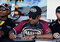 Sept. 21, 2013; Ennis, TX, USA: NHRA top fuel dragster driver Khalid Albalooshi during the Fall Nationals at the Texas Motorplex. Mandatory Credit: Mark J. Rebilas-