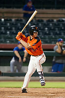 AZL Giants third baseman Jacob Gonzalez (52) at bat against the AZL Rangers on September 4, 2017 at Scottsdale Stadium in Scottsdale, Arizona. AZL Giants defeated the AZL Rangers 6-5 to advance to the Arizona League Championship Series. (Zachary Lucy/Four Seam Images)