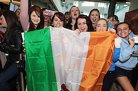 15/5/11 Fans Melissa Scanlon (left), Clare Bastic, Elisha Cornally and Amy McEvoy, Offally, wait for Jedward to arrive home at T2 Dublin Airport after finishing in 8th place at the Eurovision Song Contest in Dusseldorf, Germany. Picture:Arthur Carron/Collins