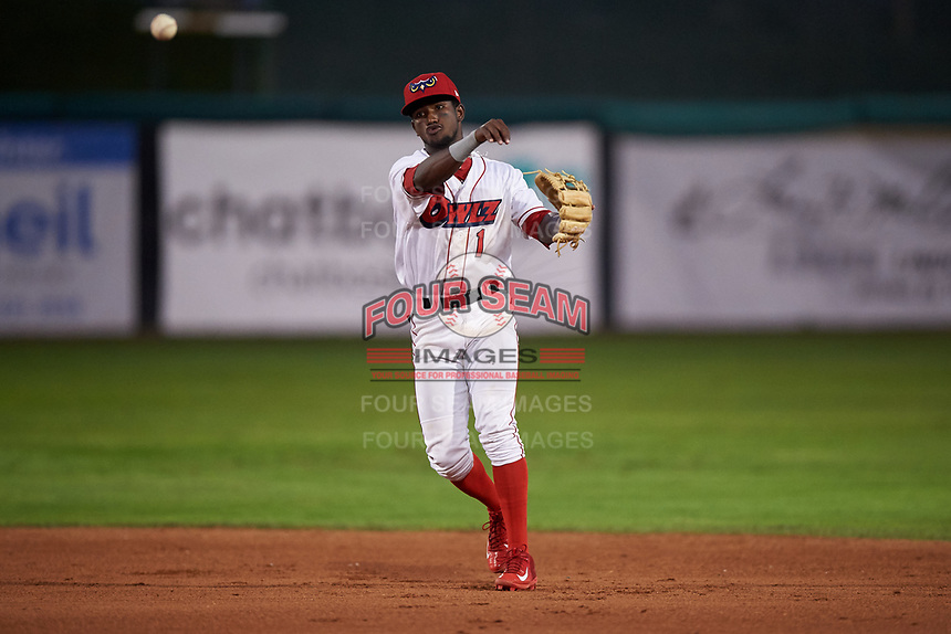 Orem Owlz second baseman Jose Quezada (1) throws to first base during a Pioneer League game against the Idaho Falls Chukars at The Home of the OWLZ on August 13, 2019 in Orem, Utah. Orem defeated Idaho Falls 3-1. (Zachary Lucy/Four Seam Images)