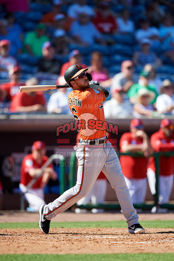 Baltimore Orioles designated hitter Drew Jackson (6) follows through on a swing during a Grapefruit League Spring Training game against the Philadelphia Phillies on February 28, 2019 at Spectrum Field in Clearwater, Florida.  Orioles tied the Phillies 5-5.  (Mike Janes/Four Seam Images)