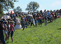 NWA Democrat-Gazette/ANDY SHUPE<br /> A large crowd watches from the edge of the battlefield Saturday, Sept. 26, 2015, during a re-enactment of the Civil War Battle of Pea Ridge in Pea Ridge. Visit nwadg.com/photos to see more photos from the weekend.