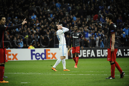 18.02.2016. Marseille, France. UEFA Europa league football. Marseille versus Athletic Bilbao.  Thauvin (OM) with a miss