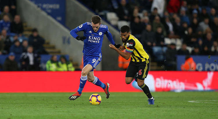 Watford's Adrian Mariappa attempts to tackle Leicester City's Jamie Vardy <br /> <br /> Photographer Stephen White/CameraSport<br /> <br /> The Premier League - Leicester City v Watford - Saturday 1st December 2018 - King Power Stadium - Leicester<br /> <br /> World Copyright © 2018 CameraSport. All rights reserved. 43 Linden Ave. Countesthorpe. Leicester. England. LE8 5PG - Tel: +44 (0) 116 277 4147 - admin@camerasport.com - www.camerasport.com