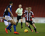 Mark Duffy of Sheffield Utd runs at the Swindon defence during the English League One match at Bramall Lane Stadium, Sheffield. Picture date: December 10th, 2016. Pic Simon Bellis/Sportimage