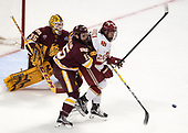 Hunter Miska (UMD - 35), Willie Raskob (UMD - 15), Evan Janssen (DU - 26) - The University of Denver Pioneers defeated the University of Minnesota Duluth Bulldogs 3-2 to win the national championship on Saturday, April 8, 2017, at the United Center in Chicago, Illinois.