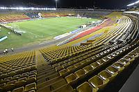BOGOTA - COLOMBIA -13 -08-2016: Aspecto de las tribunas vacias del estadio El Campín durante el encuentro entre Millonarios y Fortaleza CEIF por la fecha 8 de la Liga Aguila II 2016 jugado en el estadio Nemesio Camacho El Campin de la ciudad de Bogota./ Aspect of the empty grandstands  of the El Campin stadium during the match between Millonarios and Fortaleza CEIF for the date 8 of the Liga Aguila II 2016 played at the Nemesio Camacho El Campin Stadium in Bogota city. Photo: VizzorImage / Gabriel Aponte / Staff.