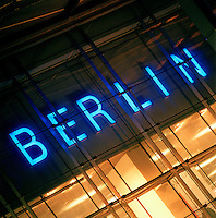 "Neon Illuminated ""Berin"" sign, Berlin, Germany"