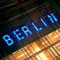 "Neon Illuminated ""Berin"" sign, Berlin, Germany"
