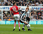 Jack Colback of Newcastle United in action with George Moncur of Barnsley during the EFL Championship match at St James' Park Stadium, Newcastle upon Tyne. Picture date: May 7th, 2017. Pic credit should read: Jamie Tyerman/Sportimage