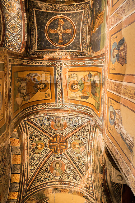 Vaulted ceiling with icons and frescoes, Interior, frescos, walled 10th century monastery of Hosios Loukas, Distomo, Greece