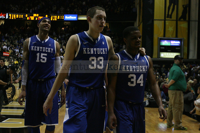 UK forward Kyle Wiltjer and UK guard Julius Mays after the second half of the UK vs. Vanderbilt men's basketball game at Memorial Gymnasium in Nashville, Tn., on Thursday, January 10, 2013. UK won 60-58. Photo by Tessa Lighty | Staff