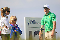 Stuart Grehan (IRL) and girlfriend Carla Reynolds on the 12th during the Home Internationals day 2 foursomes matches supported by Fairstone Financial Management Ltd. at Royal Portrush Golf Club, Portrush, Co.Antrim, Ireland.  13/08/2015.<br /> Picture: Golffile   Fran Caffrey<br /> <br /> <br /> All photo usage must carry mandatory copyright credit (© Golffile   Fran Caffrey)