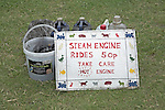 Sign for steam engine rides, Suffolk Smallholders annual show, Stonham Barns, Suffolk, England, July 2008