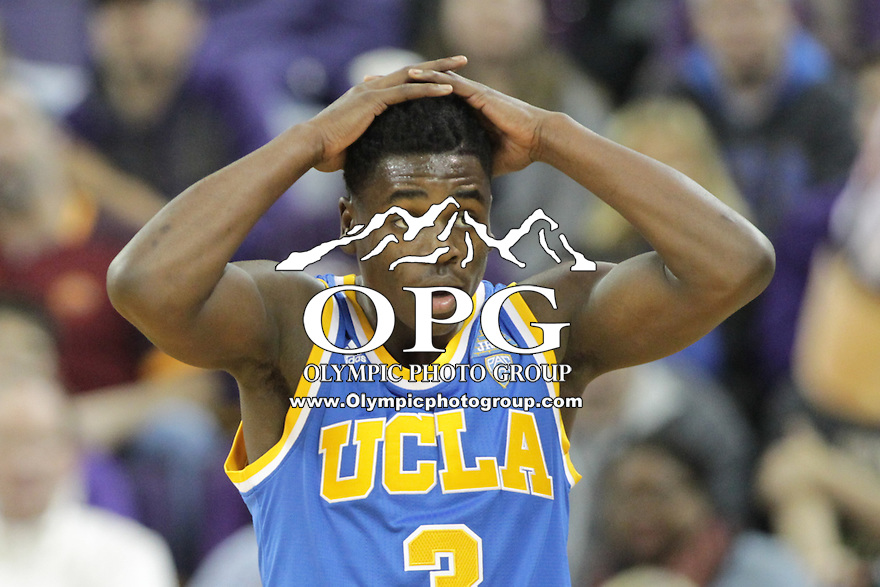 JAN 1, 2016:  UCLA's #3 Aaron Holiday walks to the neck after getting his 5th foul in the game against Washington.  Washington defeated #25 ranked UCLA 96-93 in double overtime at Alaska Airlines Arena in Seattle, WA.