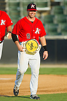 "Kale Kiser (9) of the Kannapolis Intimidators sports his Championship Belt for being named the ""Organization Position Player - Hardest Worker"" by the strength and conditioning coaches prior to the South Atlantic League game against the Lexington Legends at CMC-Northeast Stadium on July 29, 2013 in Kannapolis, North Carolina.  The Intimidators defeated the Legends 10-5.  (Brian Westerholt/Four Seam Images)"