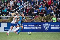 Allston, MA - Saturday, May 07, 2016: Boston Breakers defender Whitney Engen (4) and Chicago Red Stars midfielder Vanessa DiBernardo (10) during a regular season National Women's Soccer League (NWSL) match at Jordan Field.