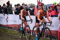 the dutch team with Annemarie Worst (NED) and Ceylin Del Carmen Alvarado (NED)  made it a very exciting race. <br /> <br /> Women's Elite Race<br /> UCI 2020 Cyclocross World Championships<br /> Dübendorf / Switzerland<br /> <br /> ©kramon